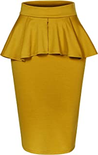 LE3NO Womens High Waisted Flared Knee Length Self Tie Belt A Line Midi Skirt