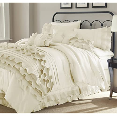 fa79074d7629 8 Piece Textured Frills Ruffles Design Comforter Set Queen Size