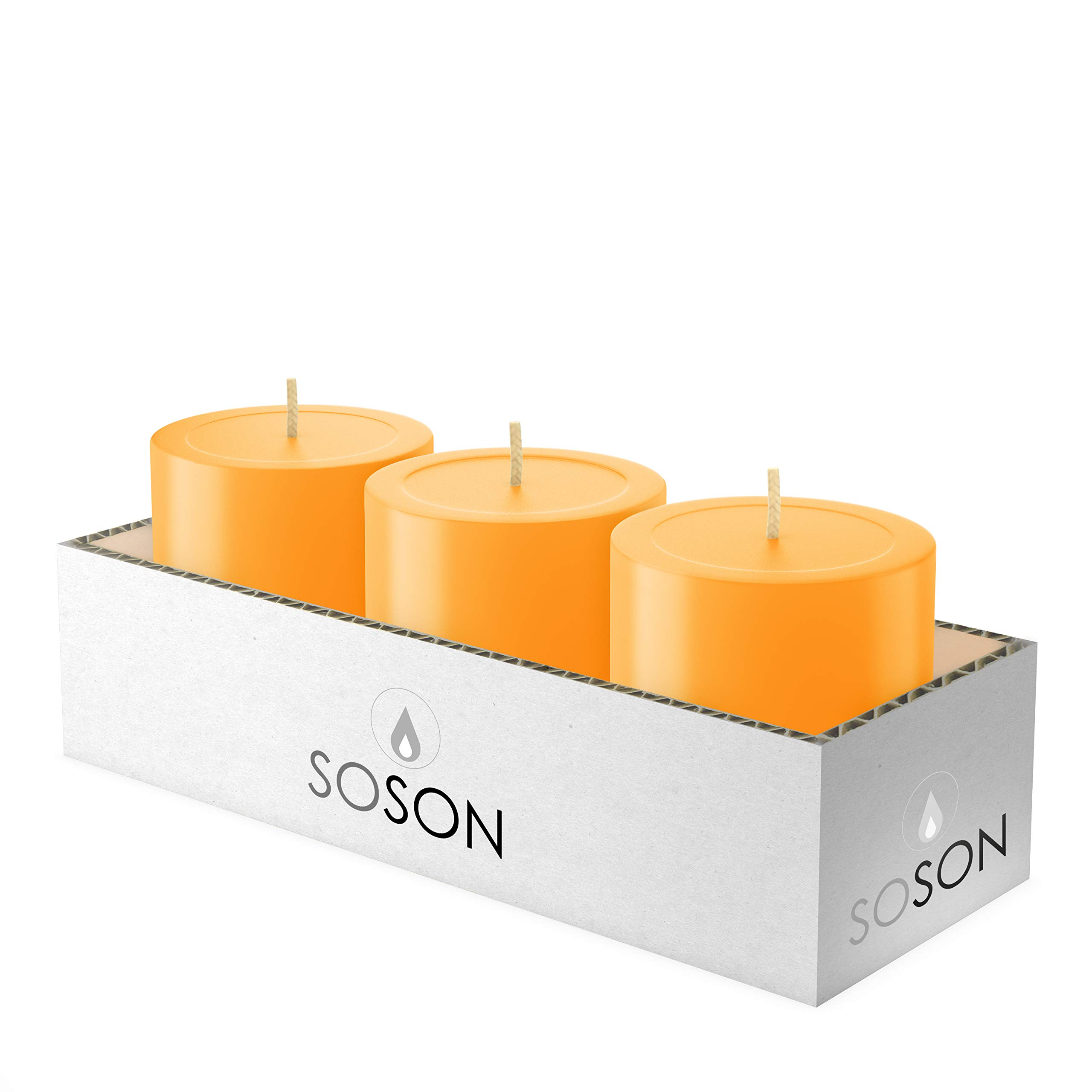 Simply Soson 3x3 Inch Apricot Orange Smooth Long Burn Pillar Candles Bulk, Unscented, Drip-Less Candle Sticks. Cotton Wick Scent Free Paraffin Wax. Slow Burning Party and Home Decoration (Pack of 3).