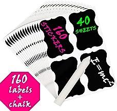Creative Home Juego de 160 (40 Hojas) Etiquetas Adhesivas Reescribibles de Pizarra Negra + Tiza Blanca | Pegatinas Reutilizables Impermeables | para Cocina, Latas, Botes, Frascos, Botellas
