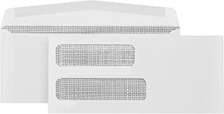 500 No. 10 Gummed Double Window Security Envelopes - Perfect Size for Multiple Business Statements, Quickbooks Invoices, and Return Envelopes - Number 10 Size 4 1/8 X 9 ½ Inch