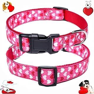 W&Z Premium Nylon Dog Collar - Soft Adjustable Valentine' s Day Dog Collars - Cute Heart Design - Best for Boy Girl Small Medium Large X-Large Dogs