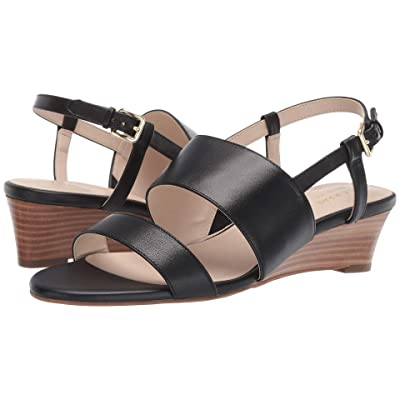 Cole Haan Annabel Grand Wedge Sandal (Black Leather) Women