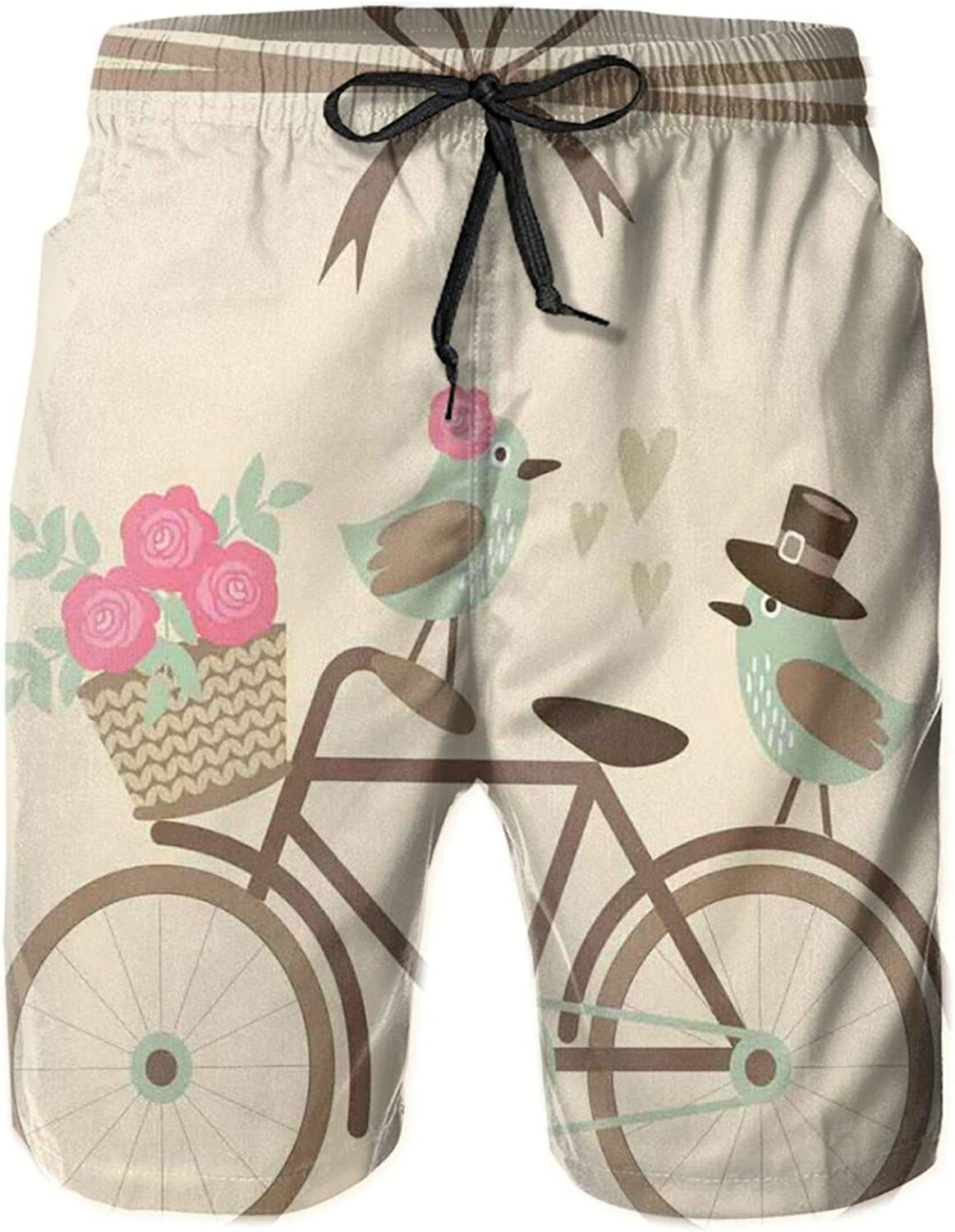 Summer Shorts for Men,and Groom Birds On Casual Classic Fit Short Summer Beach Shorts for Men M