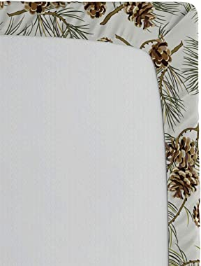 Lunarable Pinecone Fitted Sheet, Scenery Illustration of Hand Painted Pine Tree Branches and Sepia Cone, Soft Decorative Fabr