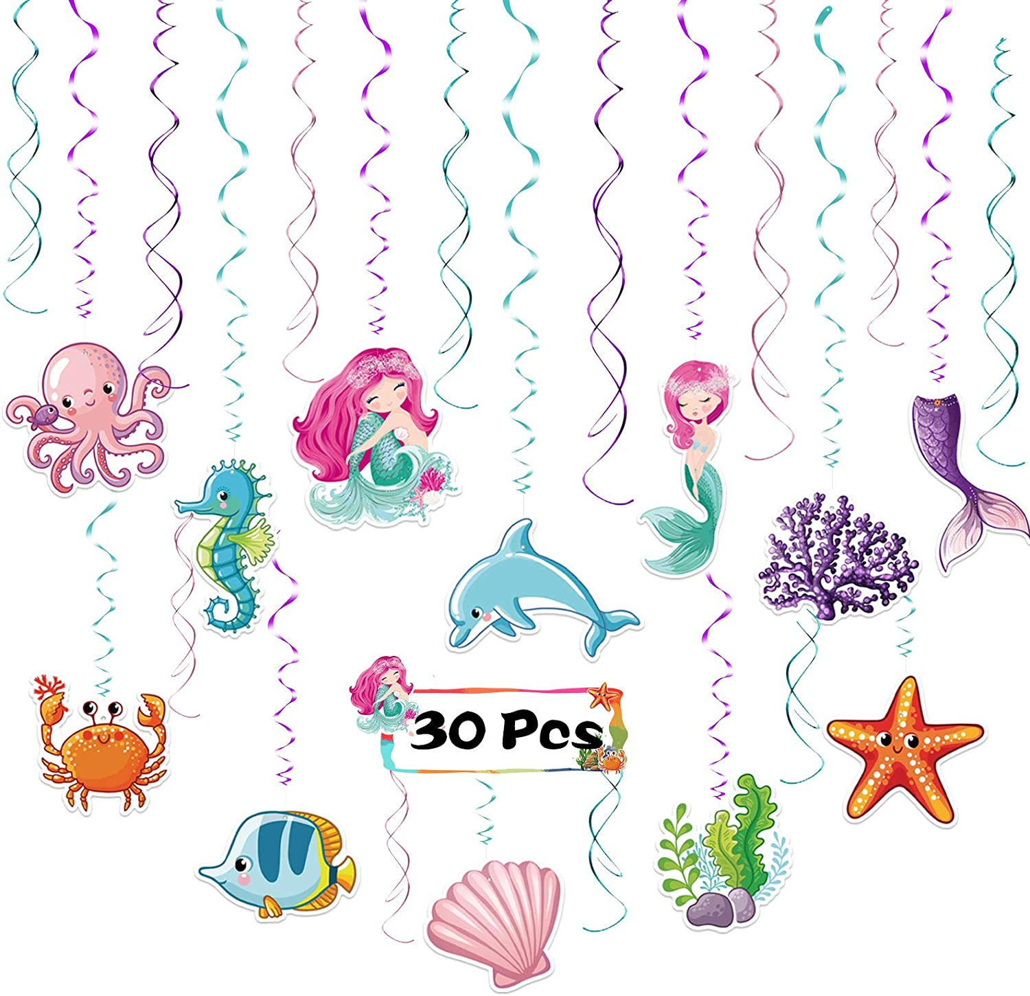 Mermaid Hanging Swirl, LANMOK 30pcs Under The Sea Party Decorations Tropical Ocean Ceiling Streamer Mermaid Shape Dangling Decor for Kids Girls Sea Themed Baby Shower Party Decor