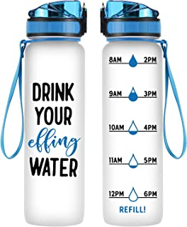 Coolife 32 oz 1 Liter Motivational Tracking Water Bottle with Hourly Time Marker - Drink Your Effing Water - Funny Birthday Gifts for Women, Men, Mom, Dad, Best Friends, Coworkers - Drink More Water