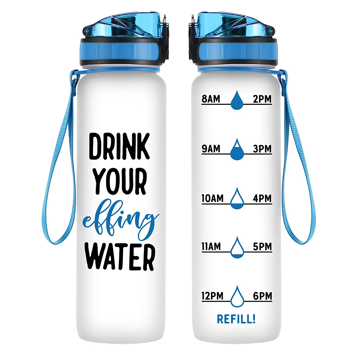 Coolife 32 oz 1 Liter Motivational Tracking Water Bottle with Hourly Time Marker | Drink Your Effing Water | Funny Birthday Gifts for Women, Men, Mom, Dad, Best Friends, Coworkers | Drink More Water