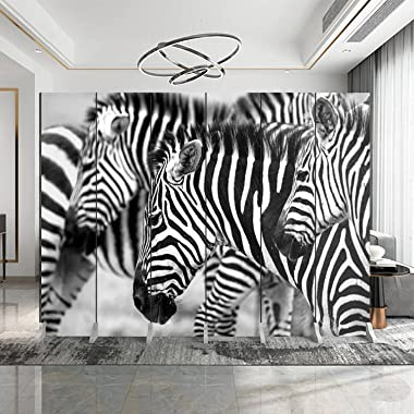 Dola-Dola 6 Panel Screen Room Divider Zebras Heads Folding Canvas Screen Privacy Partition Indoor Separator Freestanding Prot