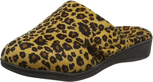Vionic Women's Gemma Mule Slipper - Comfortable Spa House Slippers That Include Three-Zone Comfort with Orthotic Insole Arch Support, Soft House Shoes for Ladies Tan Leopard 5 Medium US