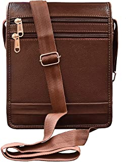 ABYS Genuine Leather Coffee Brown Messenger Bag||Passport Pouch||Neck Pouch for Men & Women