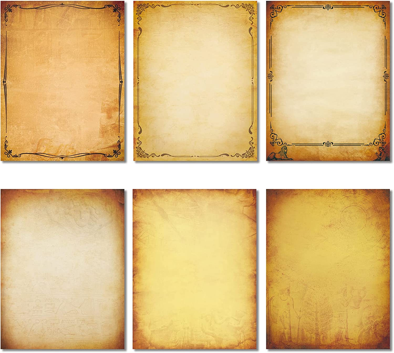 """Realistic Vintage Stationery Paper 102 Pieces - 32lb / 120gsm Heavy Weight Writing Stationary 8.5"""" x 11"""", 6 Antique Parchment Design, Printer Friendly, Both Sides Printed, Old Looking : Office Products"""