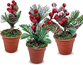 Tabletop Christmas Greenery Pots - Set of 3 Pots with Pine Red Berries and Pinecones - Snow Flocked Xmas Tree Décor