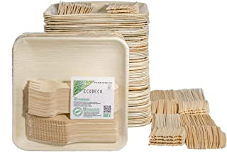 300 PCS Eco Friendly Disposable Dinnerware Set - 100 Palm Leaf Compostable 8