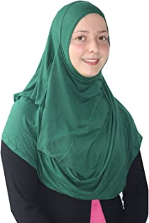 Womens Modest Plain Double Loop Instant Cotton Hijab Scarf Ready To Wear