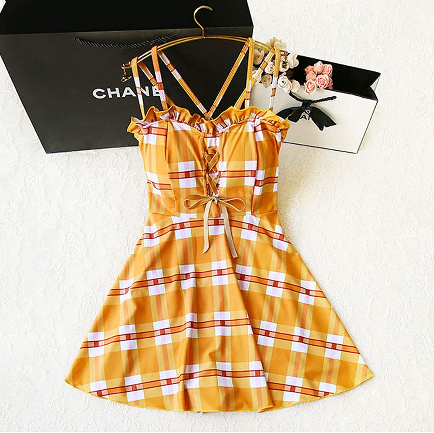 Bathing Suits for Women, High Waisted Swimsuit Yellow Plaid Lace Halter Open Back Dress Swimwear Cute Sexy Swimsuit for Lady's Summer Beach Vacation