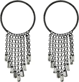 Round and Baguette Rhinestone Fringe Chain Post Earrings