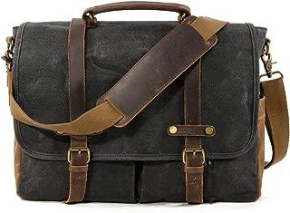 WUDON Mens Messenger Bag For 15.6 Inch Laptop Briefcase, Rugged Leather Work Bag …