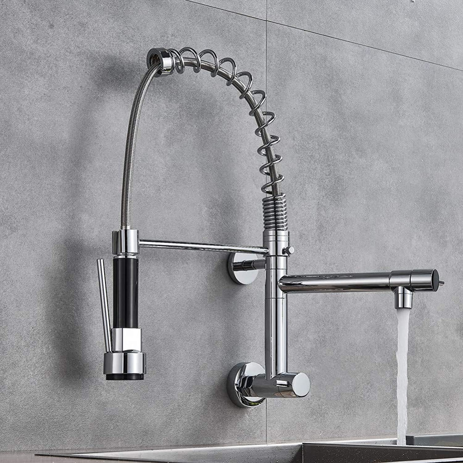 YHSGY Kitchen Taps Chrome Brass Kitchen Faucet Vessel Sink Mixer Tap Spring Dual Swivel Spouts Sink Mixer Bathroom Faucets Wall Mounted Tap