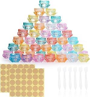 64 Piezas Envase Cosmético Vacío, Contenedor de Cosmética de Plástico, Transparente Puede Pequeño Botes Cosméticos, Juego de Tarros de Viaje con Tapa + 6 Mini Raspadores