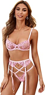 SheIn Women's Embroidered Mesh Underwire Garter Belts Bra and Panty Lingerie Set