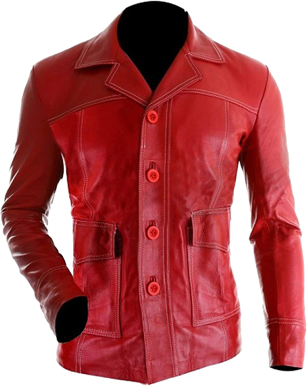 Men's Brad Red Fight Hi-Quality Tyler Biker Durden Leather Jacket