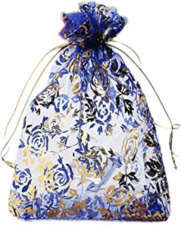 Riverer 100 pcs Gold Roses Pattern Organza Gift Bags, 13x18cm (5.1x7.1 Inches)