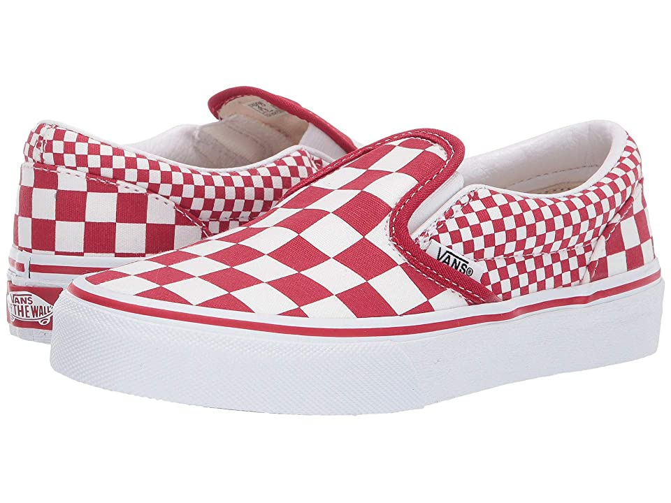 Vans Kids Classic Slip-On (Little Kid/Big Kid) ((Mix Checker) Chili Pepper/True White) Kids Shoes