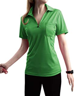 TWINTH Women Active Short Sleeve Zipup Basic Polo T- Shirt