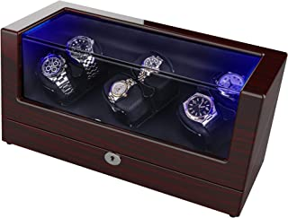 TRIPLE TREE Watch Winder, with Soft and Flexible Watch Pillows, Six Winding Spaces, Wooden Shell, Powered by Japanese Motor, Built-in Blue LED Illumination, for Automatic Watches (Wood Brown)