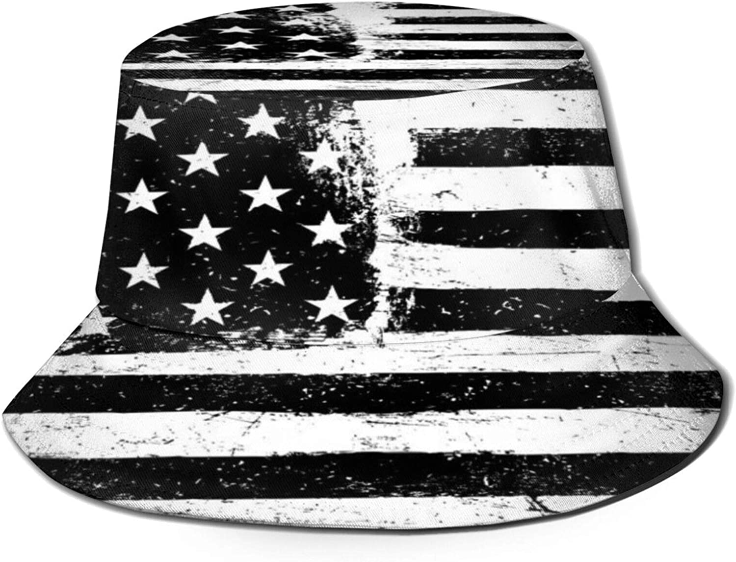Industry No. 1 Grunge Aged Black and safety White American Flag Unisex Bucket Hat Sun