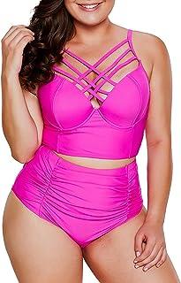 dd8404d227 Dearlove Women s Plus Size Strappy High Waist Bikini Swimsuit M-XXXL