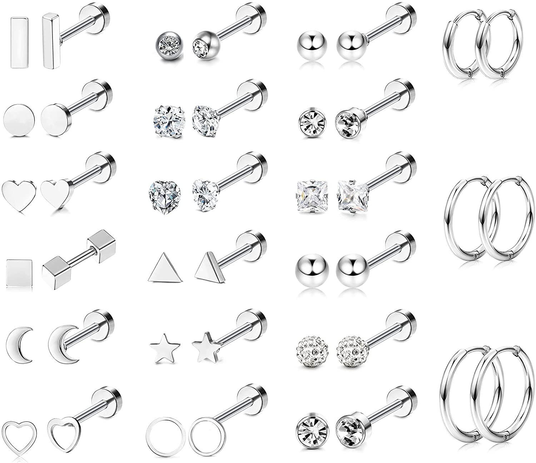 LOLIAS 21Pairs Tiny Cartilage Earrings Stud Hoop Stainless Steel Screw Flat Back Earrings Hoop Earrings for Cartilage Tragus Daith Helix Ear Piercing Set