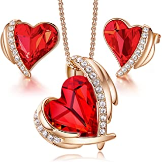 Sponsored Ad – CDE Jewellery Sets Gifts for Women Love Heart White/Rose Gold Necklaces and Stud Earrings Set Anniversary B...