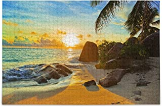 Oreayn Jigsaw Puzzles for Kids Adults 1000 Pieces, Tropical Beach at Sunset, Finish Size 29.5''x 19.7''