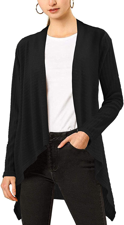 BENANCY Women's Drape Front Open Cardigan Long Sleeve Irregular Hem