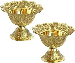 Tip 'n' Top Akhand Diya   Oil/Ghee Lamp   Puja Diya (Set of 2, Brass) (Size- 2 Inch)