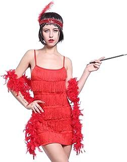 b206704b17be1 MABOOBIE Deguisement Costume Tenue Robe a Frange Bandeau Flume Porte  Cigarette Annee 20 1920 Charleston Adult