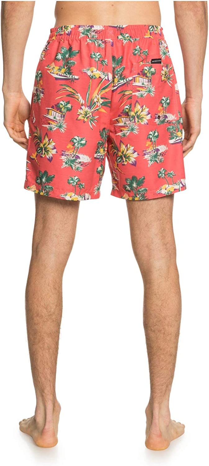 Quiksilver Mens Printed Volley 17 Inch Outseam Elastic Waist Swim Trunk