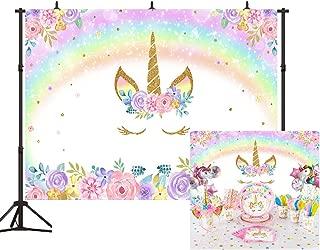 Unicorn Rainbow Backdrop Rainbow Floral Smiling Face Unicorn Birthday Theme Photography Background 7x5ft Baby Newborn Birthday Decorations Party Studio Props BT029