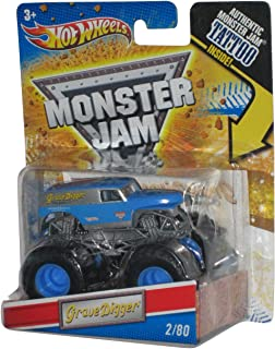 Hot Wheels Grave Digger (Blue Silver) Monster Jam 2011 Tatoo Series #2/80 1:64 Scale (Small Version)