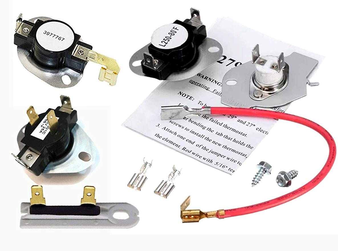 Dryer Thermostat and Thermal Fuse Kit that works with Whirlpool WED4815EW0