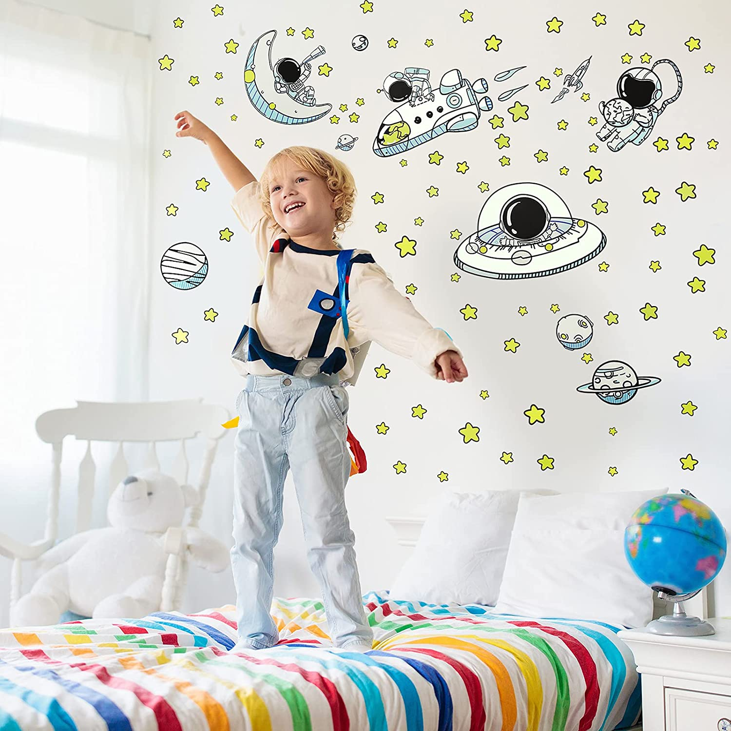 Laumoi 116 Pieces Glow in The Dark Wall Sticker Astronaut Planet Outer Space Stars DIY PVC Removable Large Wall Decal Bright Solar System Wall Sticker for Kids Bedroom Living Room Playing Room Decor