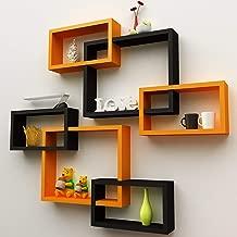 Amaze Shoppee MDF Wall Decoration Intersecting Floating Shelves Set of 6 (Orange and Black)