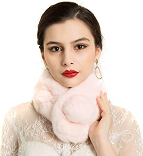 Womens Faux Fur Collar Scarf Neck Warmer Shrug Ultra Soft Wrap Shawl for Winter Coat Dress