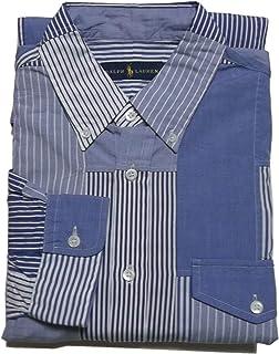 (ポロ ラルフローレン) 長袖 ボタンダウンシャツ パッチワーク ブルー Polo Ralph Lauren 608[並行輸入品]