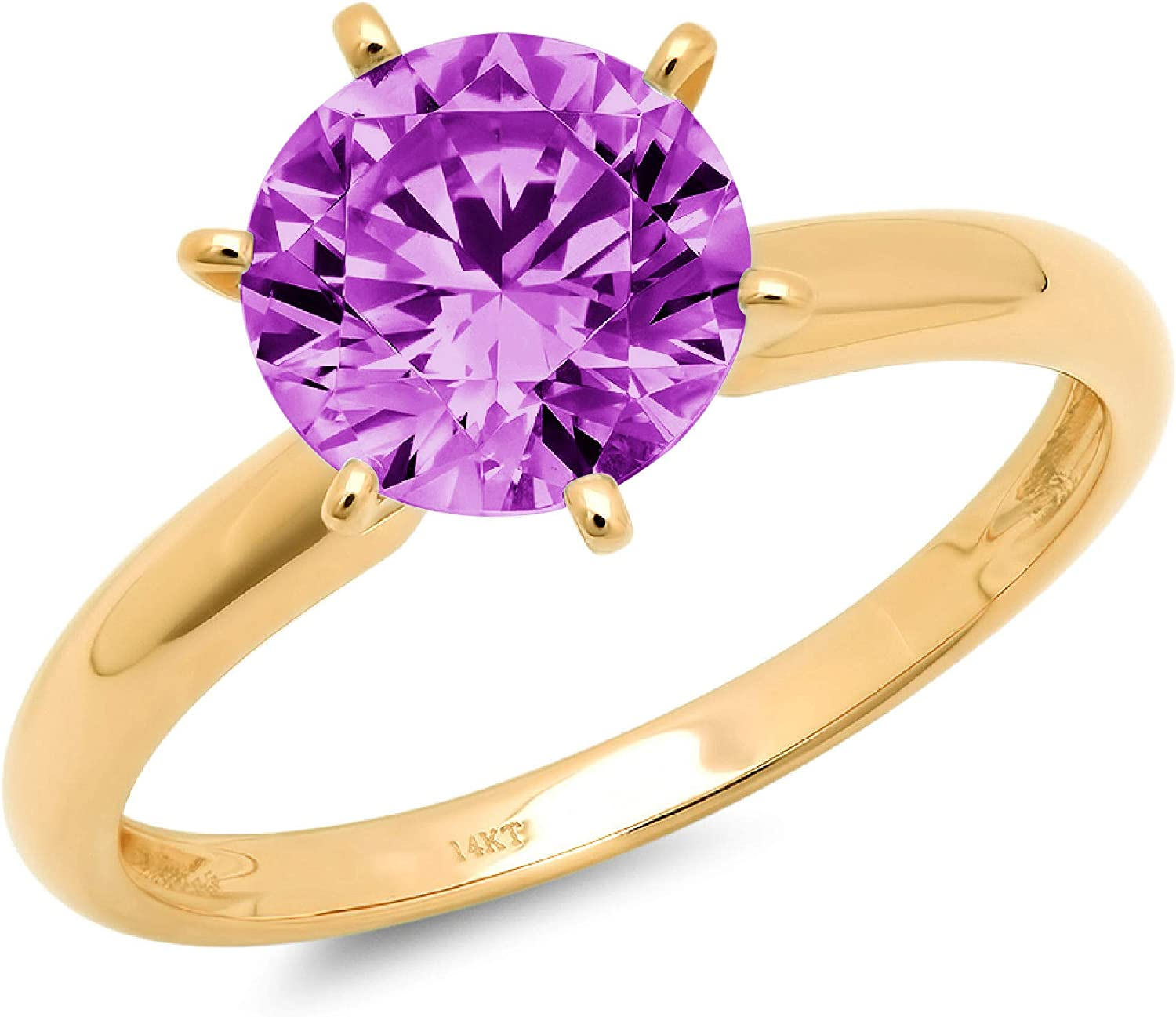 1.0 ct Brilliant Round Cut Solitaire Flawless Simulated Purple Alexandrite CZ Ideal VVS1 6-Prong Engagement Wedding Bridal Promise Anniversary Designer Ring in Solid 14k yellow Gold for Women
