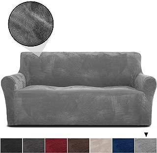 RHF Velvet-Sofa Slipcover, Stretch Couch Covers for 3 Cushion Couch-Couch Covers for Sofa-Sofa Covers for Living Room,Couch Covers for Dogs, Sofa Slipcover,Couch slipcover(Grey-Sofa)