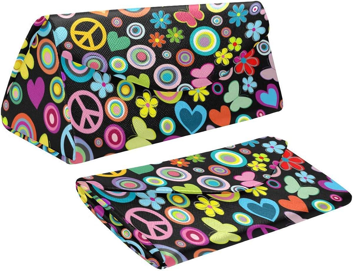 Glasses Case Flowers Peace Signs Eyeglass Case Leather Magnetic Folding Hard Case Sunglasses Eyewear Protective Case