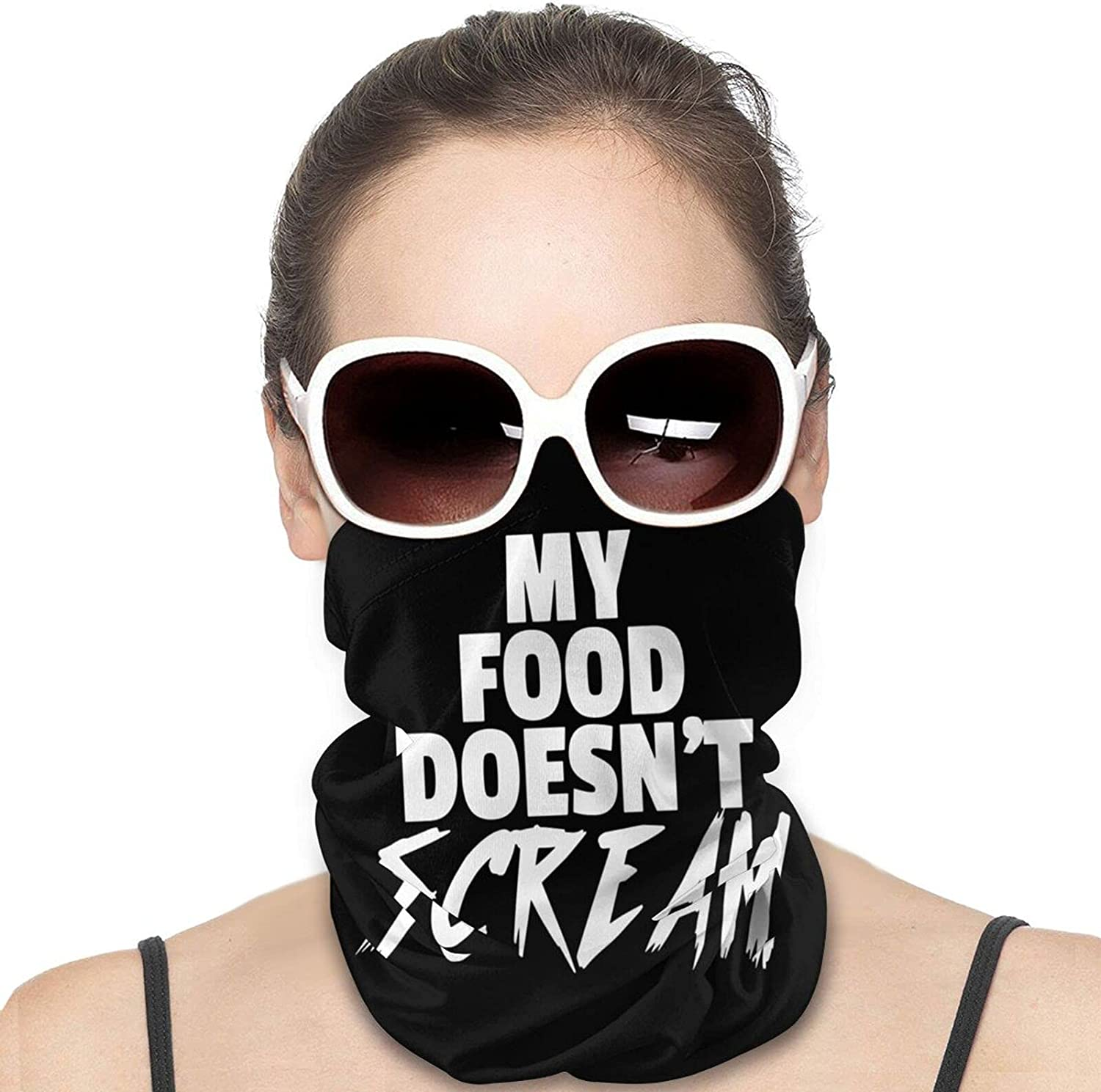 My Food Doesn't Scream Round Neck Gaiter Bandnas Face Cover Uv Protection Prevent bask in Ice Scarf Headbands Perfect for Motorcycle Cycling Running Festival Raves Outdoors